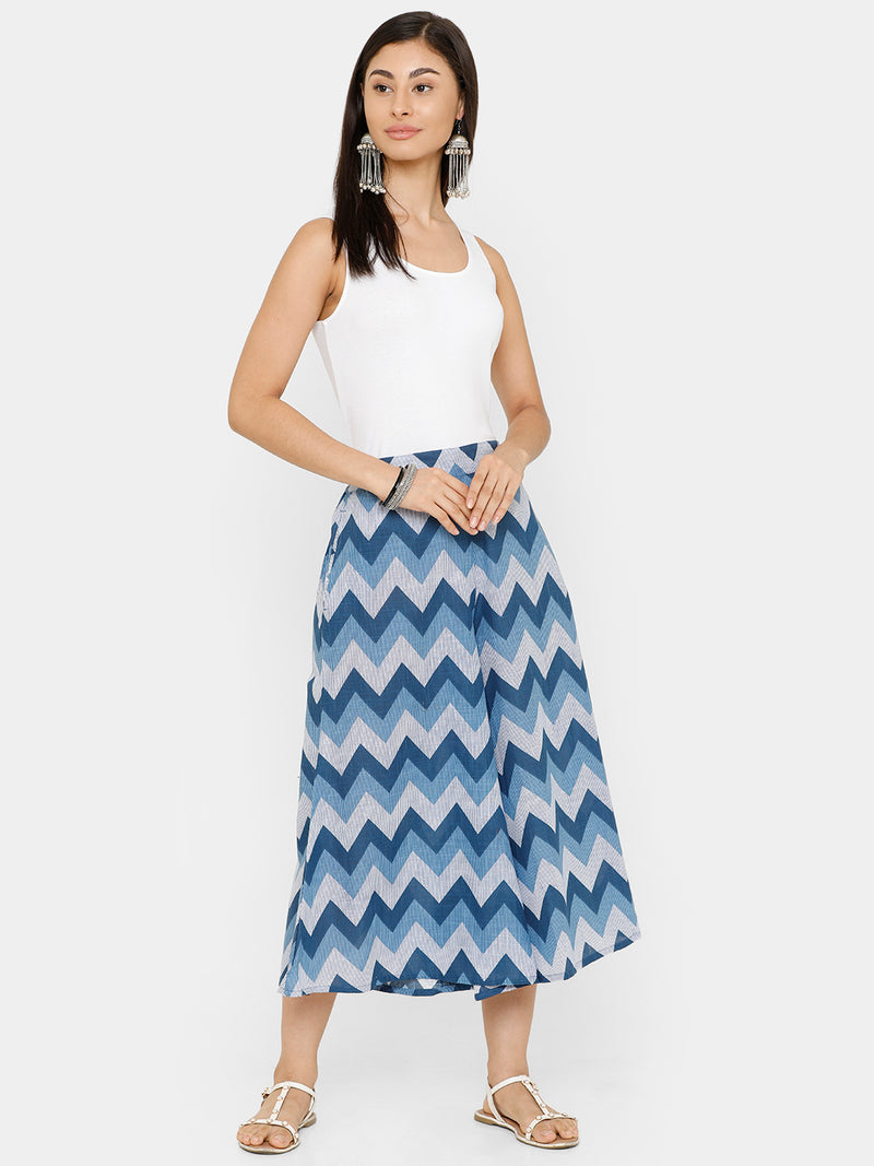 De Moza women's Printed Culottes Woven Bottom Cotton Indigo Blue - De Moza