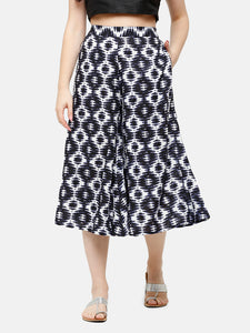 De Moza Women's Culottes Woven Bottom All Over Print Rayon Indigo Blue - De Moza