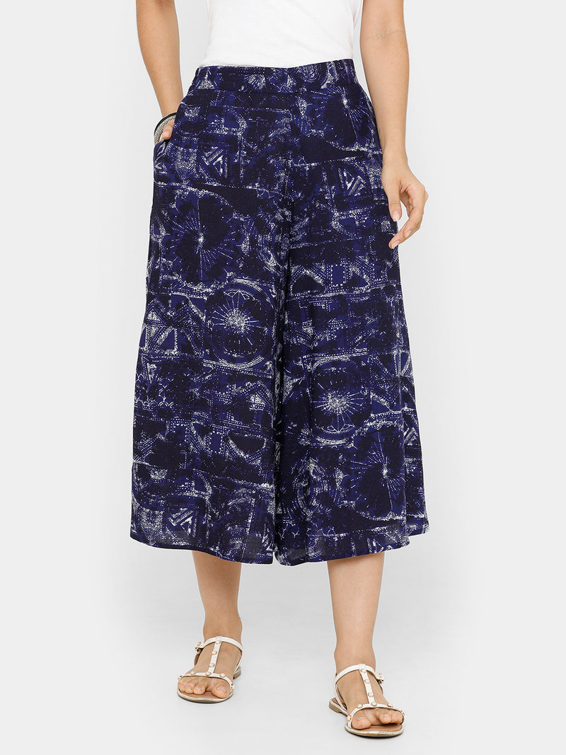 De Moza women's Printed Culottes Woven Bottom Rayon Royal Blue - De Moza