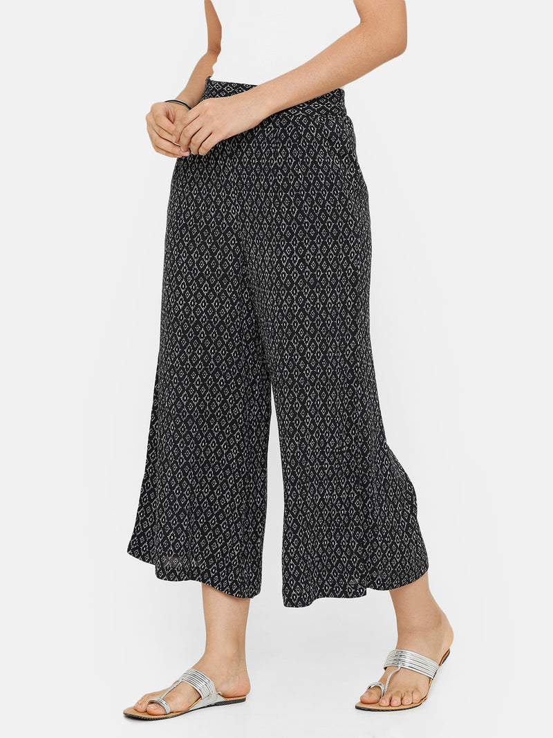 De Moza women's Printed Culottes Woven Bottom Rayon Black - De Moza