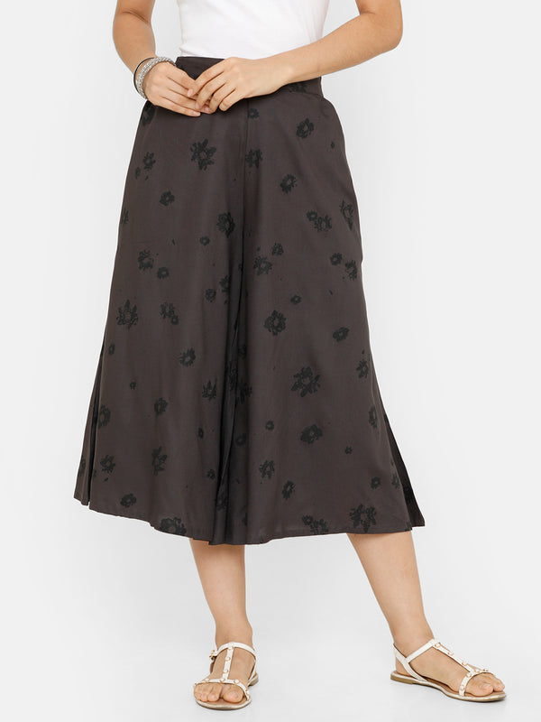 De Moza women's Printed Culottes Woven Bottom Rayon Dark Grey - De Moza