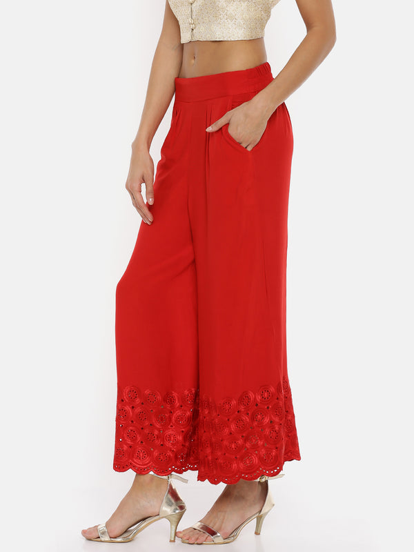 De Moza Ladies Red Embroidery Culottes - De Moza
