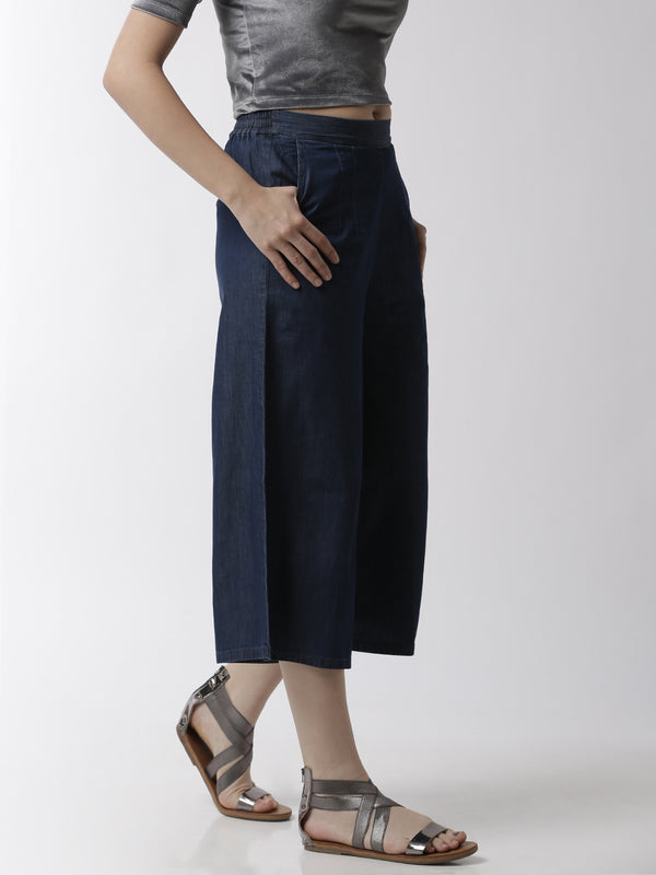 De Moza Women's Culottes Woven Bottom Solid Cotton Enzyme Blue - De Moza