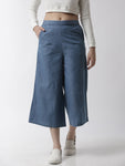 De Moza Women's Culottes Woven Bottom Solid Cotton Ice Blue - De Moza