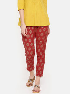De Moza Ladies Red Printed Cigarette Trousers - De Moza