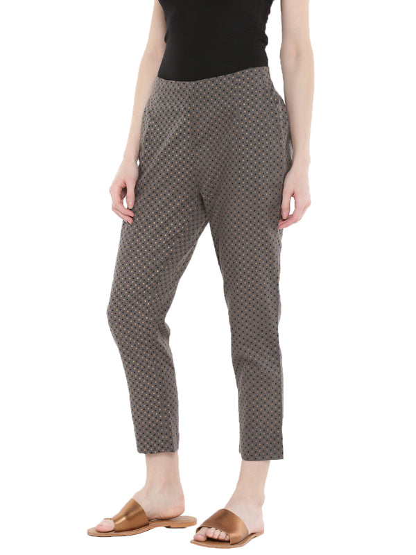 De Moza Ladies Printed Cigarette Pant Dark Grey - De Moza