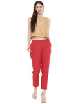 De Moza Ladies Woven Printed Cigarette Pant Red - De Moza