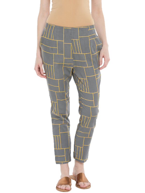De Moza Ladies Printed Cigarette Pant Light Grey - De Moza