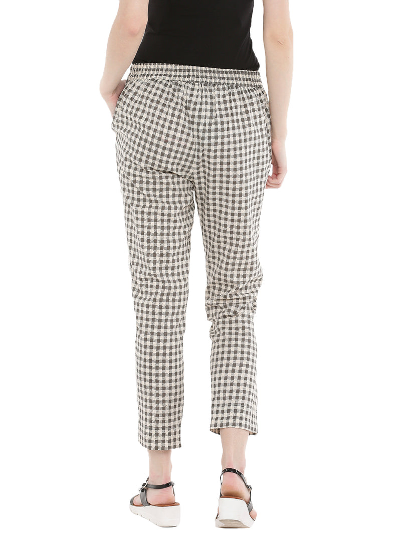 De Moza -Ladies Printed Cigarette Trousers White & Grey - De Moza
