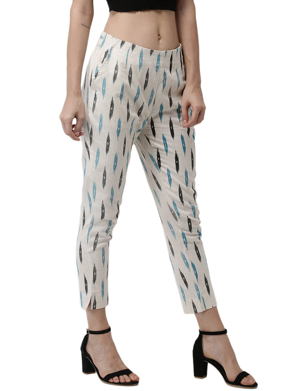 De Moza- Ladies Printed Cigarette Pant Light Blue - De Moza