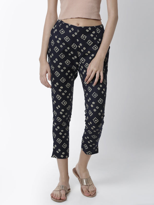 De Moza Women's Cigarette Pant Woven Bottom All Over Print Cotton Navy Blue - De Moza