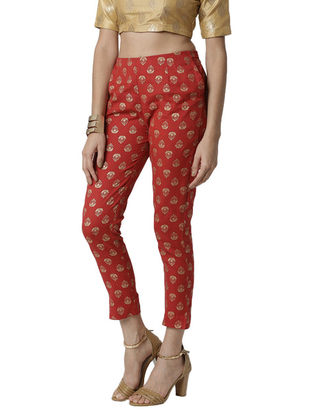 De Moza Ladies printed  Cigarette Pant Red - De Moza