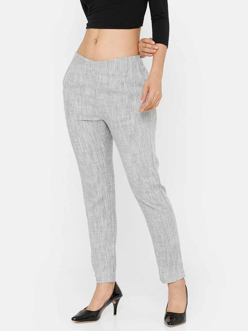 De Moza women's Cigarette Pant Woven Bottom Printed Rayon Natural - De Moza
