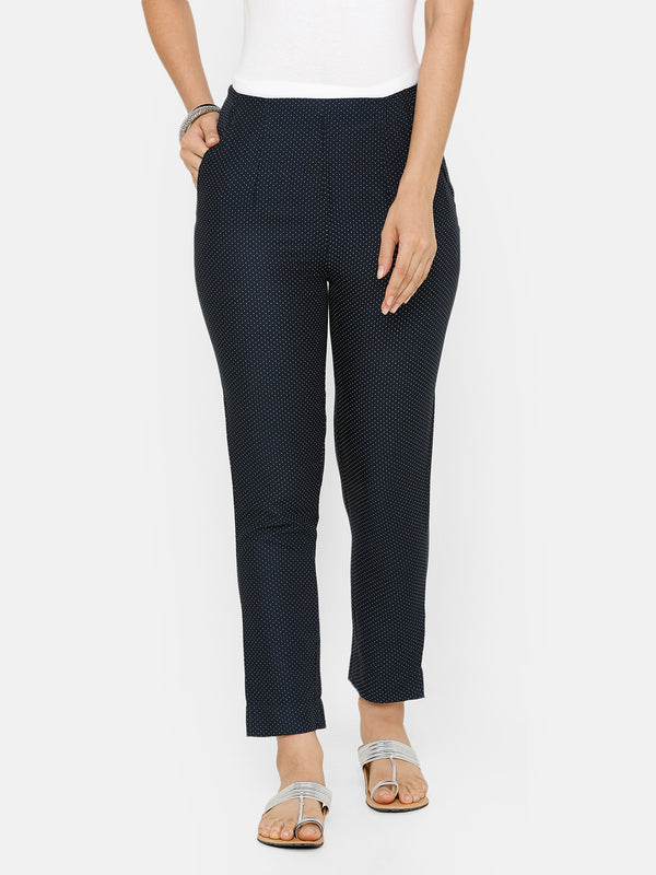 De Moza women's Printed Cigarette Pant Woven Bottom Cotton Stone Blue - De Moza