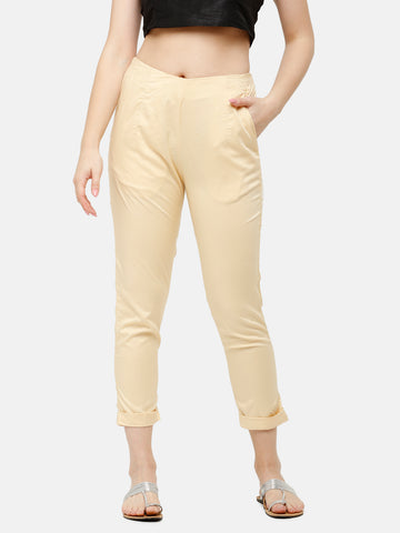 De Moza Women's Cigarette Pant Woven Bottom Solid Viscose Beige - De Moza
