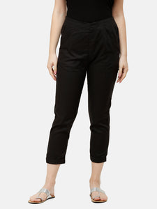 De Moza Women's Cigarette Pant Woven Bottom Solid Viscose Black - De Moza