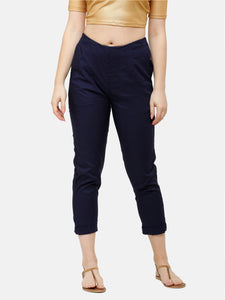 De Moza Women's Cigarette Pant Woven Bottom Solid Viscose Dark Navy Blue - De Moza