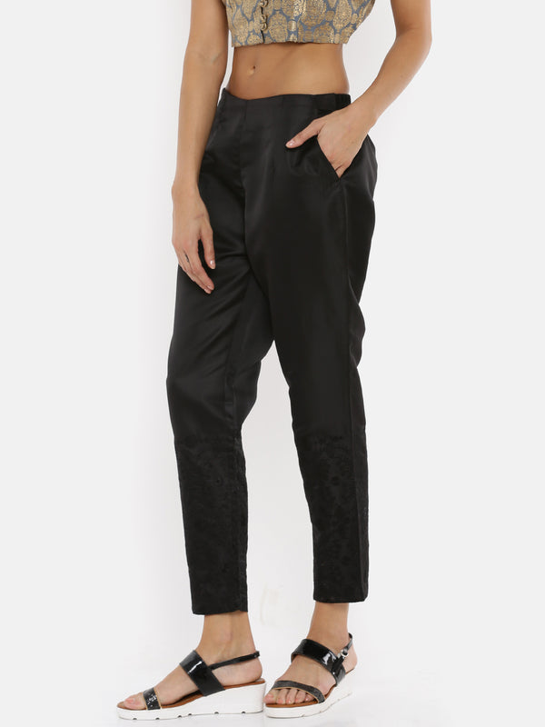 De Moza Ladies Printed Black Cigarette Pant - De Moza