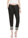 De Moza- Ladies Embroidery Black Cigarette Pant - De Moza
