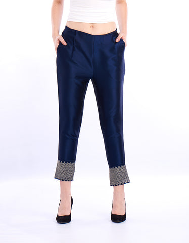 De Moza Ladies Cigarette Pant Woven Bottom Embroidery Polyester Dark Navy Blue