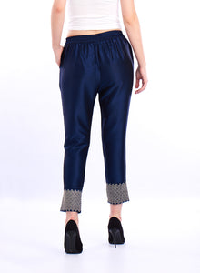De Moza- Ladies Embroidered Cigarette Pant Dark Navy Blue - De Moza