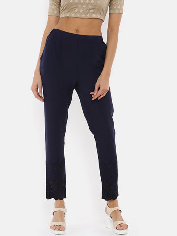De Moza- Ladies Embroidered Cigarette Pant Navy Blue - De Moza