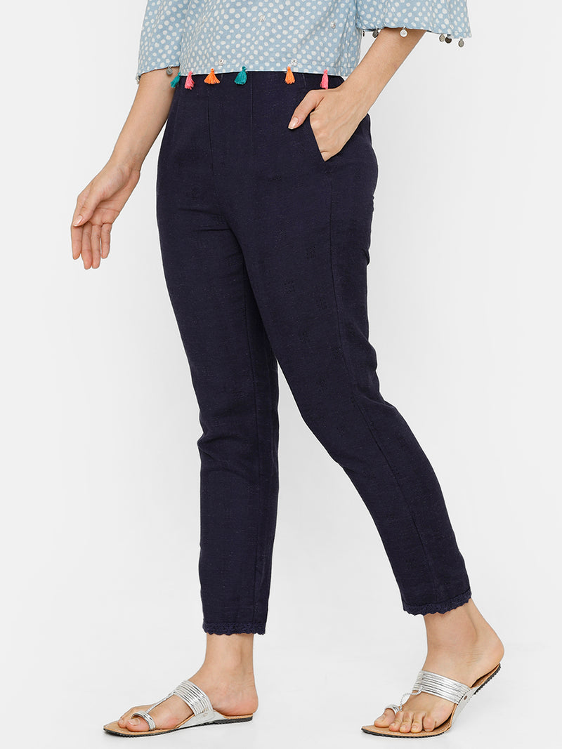 De Moza women's Cigarette Pant Woven Bottom Solid Rayon Navy Blue - De Moza