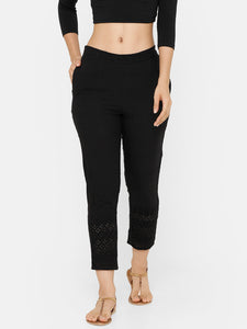 De Moza women's Cigarette Pant Woven Bottom Embrodry Cotton Black - De Moza