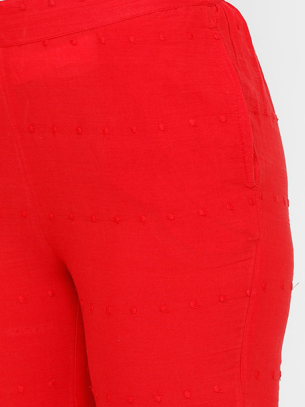 De Moza women's Cigarette Pant Woven Bottom Embrodry Cotton Red - De Moza