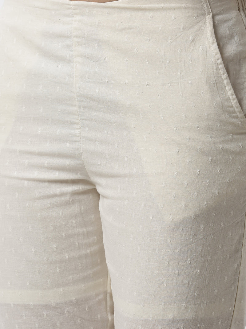 De Moza Women's Cigarette Pant Woven Bottom Jaquard Cotton Offwhite - De Moza