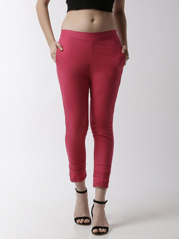 De Moza Women's Cigarette Pant Woven Bottom Lace Cotton Fuchsia - De Moza