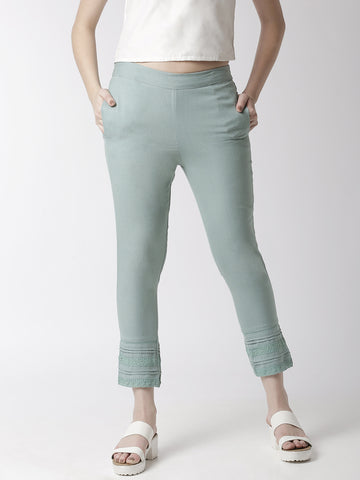 De Moza Women's Cigarette Pant Woven Bottom Lace Cotton Mint - De Moza