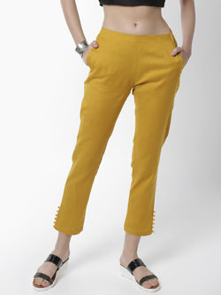 De Moza Women's Cigarette Pant Woven Bottom Placement Print Cotton Mustard - De Moza