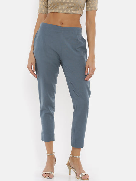 De Moza Women's Cigarette Pant Solid Cotton Dark Grey - De Moza