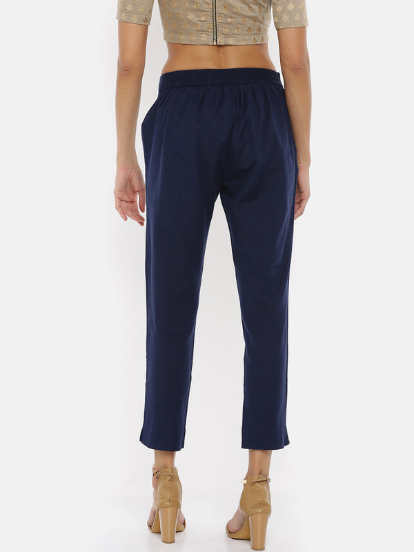 De Moza Ladies Navy Blue Cigarette Pant - De Moza