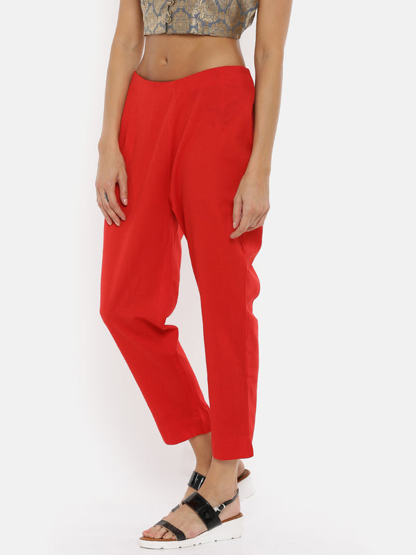 De Moza Ladies Red Cigarette Pant - De Moza