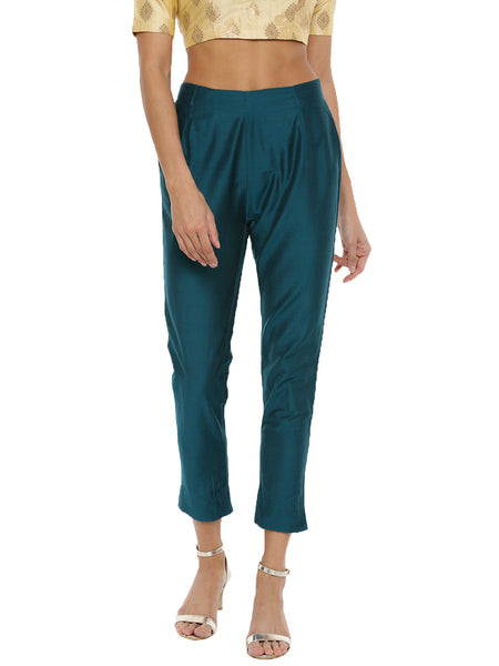De Moza Women's Cigarette Pant Solid Polyester Bottle Green - De Moza