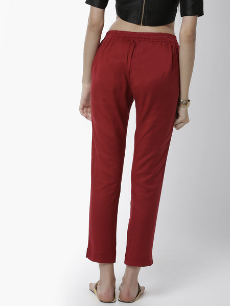 De Moza Ladies Cigarette Pant Woven Bottom Solid Cotton Maroon - De Moza