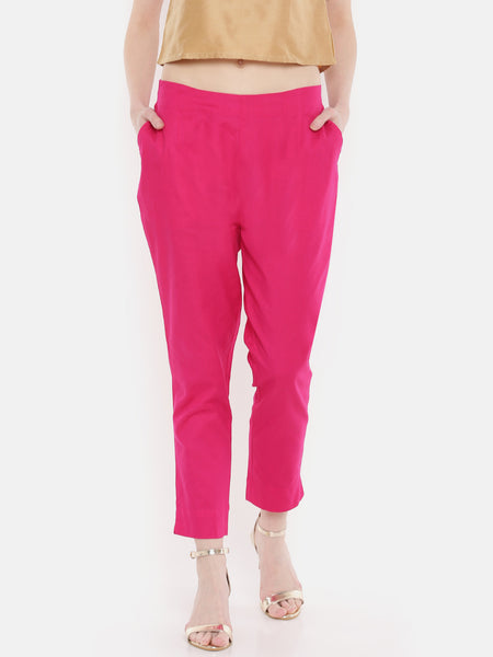 De Moza Ladies Cigarette Pant Woven Bottom Solid Cotton Flex Fuchsia S - De Moza