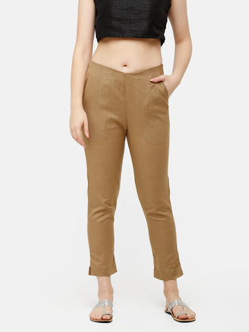De Moza Women's Cigarette Pant Woven Bottom Solid Cotton Flex Golden Beige - De Moza