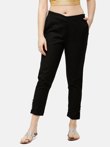 De Moza Women's Cigarette Pant Woven Bottom Solid Cotton Black - De Moza