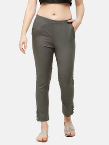 De Moza Women's Cigarette Pant Woven Bottom Solid Cotton Dark Grey - De Moza