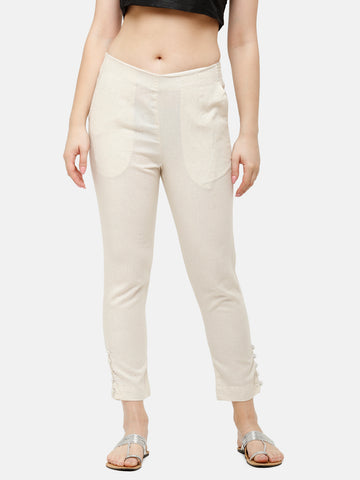 De Moza Women's Cigarette Pant Woven Bottom Solid Cotton Natural - De Moza