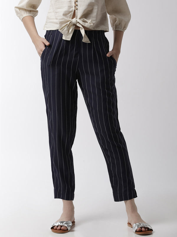 De Moza Women's Cigarette Pant Woven Bottom StripedRayon Navy Blue - De Moza