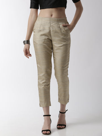 De Moza Women's Cigarette Pant Woven Bottom StripedPolyester Golden Beige - De Moza