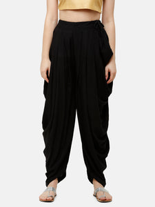 De Moza Women's Dhoti Pant Woven Bottom All Over Print Rayon Black - De Moza