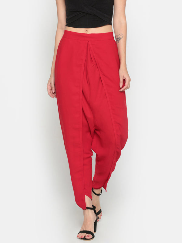 De Moza Ladies Solid Dhoti Pant Red - De Moza
