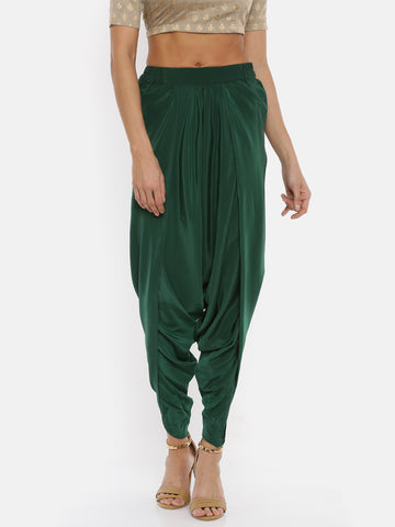 De Moza Women's Dhoti Pant Solid Polyester Bottle Green - De Moza