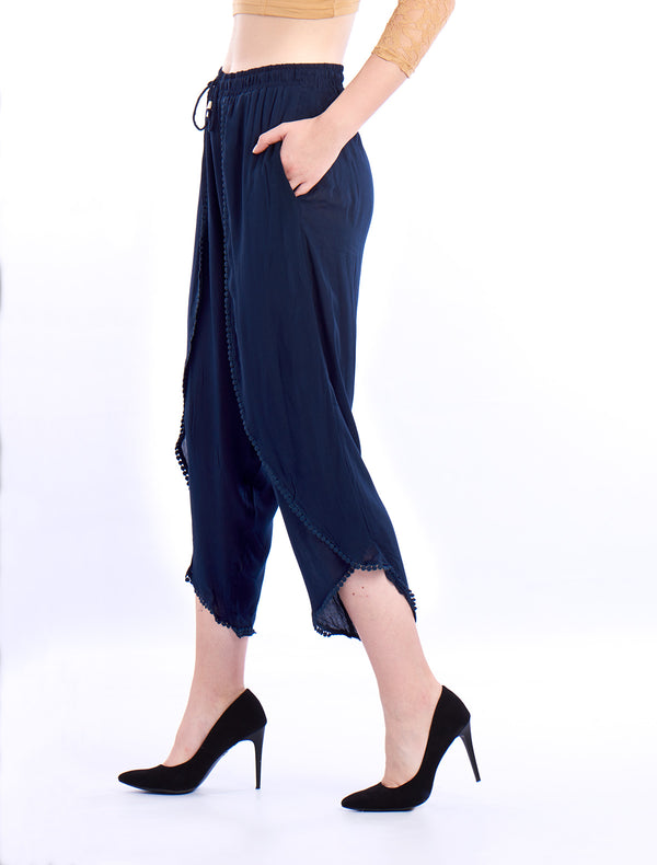 De Moza- Ladies Dhoti Pant Solid Navy Blue - De Moza
