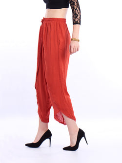De Moza- Ladies Dhoti Pant Solid Rust Orange - De Moza